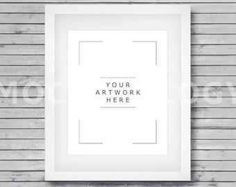 8x10 16x20 24x30 vertical white digital frame mockup wood background styled poster mockup vintage digital framed artwork instant download