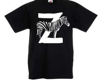 Girls / Boys Black T-Shirt Zebra / Kids Letter Z Alphabet Tee / Childrens Animal A-Z Top Grey Pink Yellow Blue Age 3-4 5-6 7-8 9-11 12-13