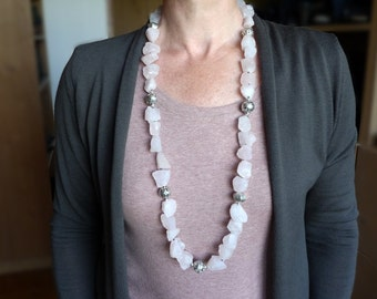 Rose quartz - Long pale pink necklace - Bali silver - gemstone jewelry - KW8719