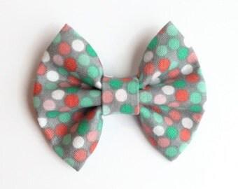 Sherbet Polka Dot Hair Bow - Fabric Hair Bow - Gray Hair Bow - Non Slip Hair Bow - Polka Dot Hair Clip - Pink Hair Clip - Mint Hair Bow