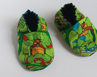 BOGO - code BOGO7 Ninja Turtle soft sole shoes, Ninja turtle moccasins, Ninja turtle crib shoes, Ninja turtle baby shoes