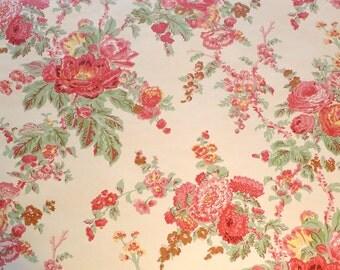 25% off SALE! Motif Vintage Wallpaper Blossom Gardens Pink Red Roses Floral