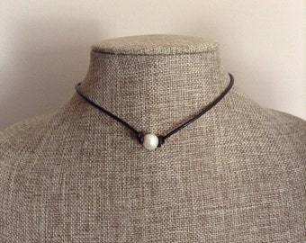 Leather and Pearl Necklace Single Pearl Leather Choker