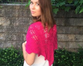Raspberry lace triangular small shawl
