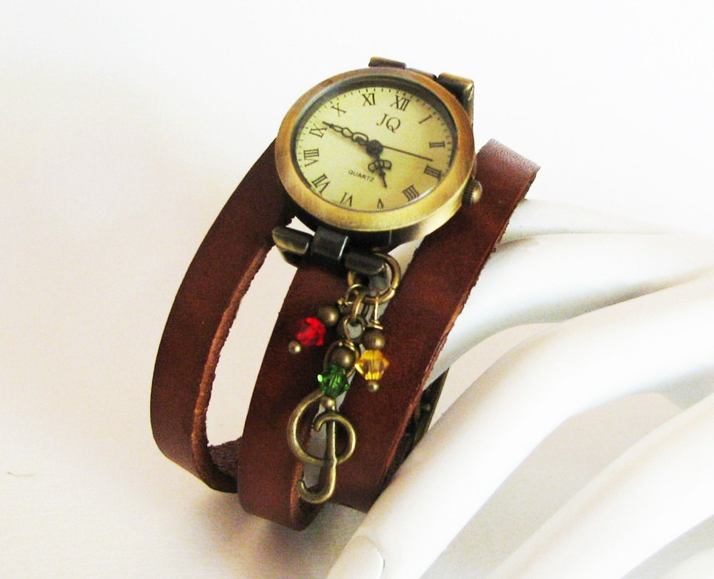 montre femme vintage musique reggae bracelet cuir marron et. Black Bedroom Furniture Sets. Home Design Ideas