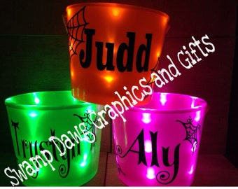 Halloween light up buckets Personalized!! Trick or treat buckets, halloween, candy bucket