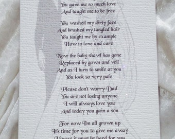 Father Of The Bride Keepsake Thank You Card. A Luxury Keepsake Poem Card