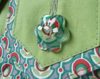 Small quilted green and red tote bag