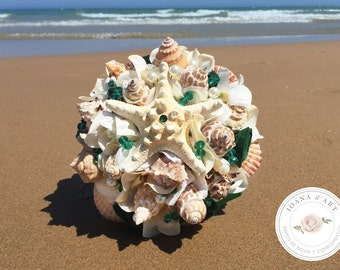 Beach bridal wedding bouquet, Sea shells bridal bouquet, green bouquet, Wedding starfish bouquet, Beach bridal bouquet