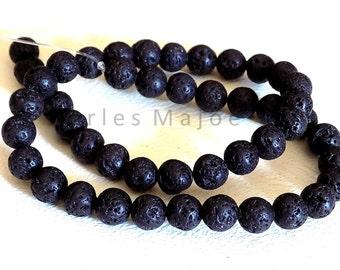 Lot de 47 perles de lave rondes noires naturelles 8 mm