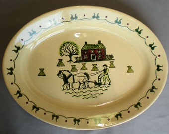 Metlox Poppytrail Homestead Provincial 13 in. Oval Platter Discontinued 1950-82
