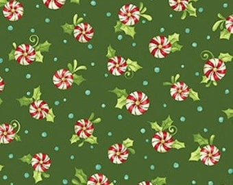 Candy Peppermint Swirls on Green - Christmas Holiday Winter by the Half Yard
