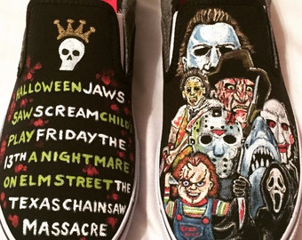 The Exquisite Corpse Hand Painted Custom Horror Movie Themed Slip On Shoes Made to Order for Adults and Children