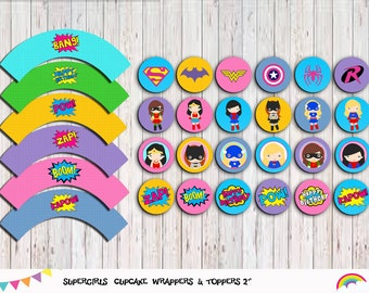 Supergirls 24 Cupcake Toppers and Wrappers , Superhero Girl Party Supplies, Superhero party  Instant Download