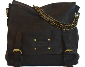 Shoulder leather  laptop bag 12 inch