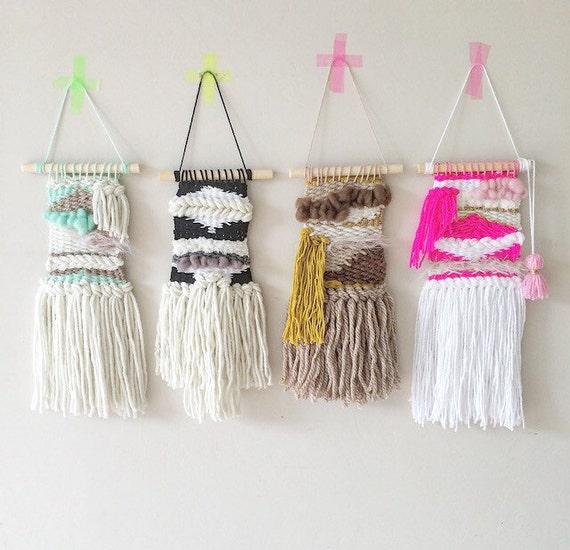 Woven Leaves Wall Decor : Custom mini weaves wall weaving art hanging woven textile