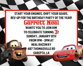 Disney Cars Personalized birthday invitations