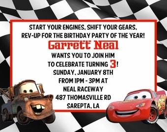 Disney Cars Personalized birthday invitations
