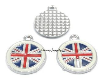12 pieces - Enamel United Kingdom Flag, Great Britain Charms Pendant Findings CE-043-MAS.17