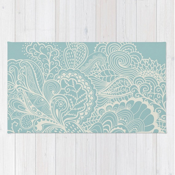 Light Blue Area Rug Mehndi Henna Paisley Shabby Chic Design