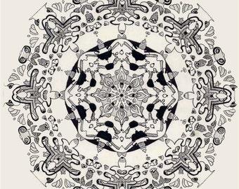 Mandala Psychadelic Trippy Zentangle Doodle Black and White