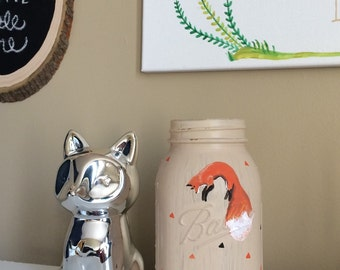 Fox Painted Mason Jar, Woodland Nursery, Rustic Chic, Fox Decor, Cabin Decor, Vase