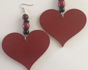 Red Heart Earrings (Big)