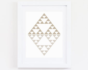 Tribal Diamond, Instant Download, Digital Prints, Digital Printable Art, Wall Art, Tribal Art, Triangle Art, Geometric Art, Mint Print