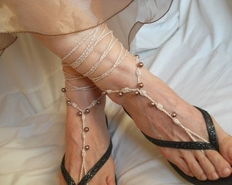 CROCHET BAREFOOT SANDALS / Summer Sandles Shoes Beads Victorian Anklet Foot Women Wedding Sexy Accessories Bridal Elegant Beach Wear Gift