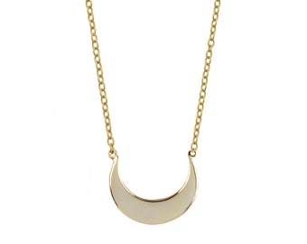 Crescent moon Necklace, celestial necklace, hammered Horn necklace, MOON NECKLACE, tiny gold necklace, minimal jewellery - gold moon