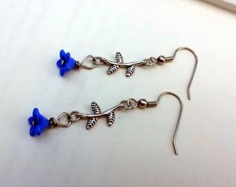 Flower earrings/ Blue and silver earrings/ Blue flower and silver stem earrings/ Flower earrings/ Handmade/ Women's/ Flower earrings/ Blue