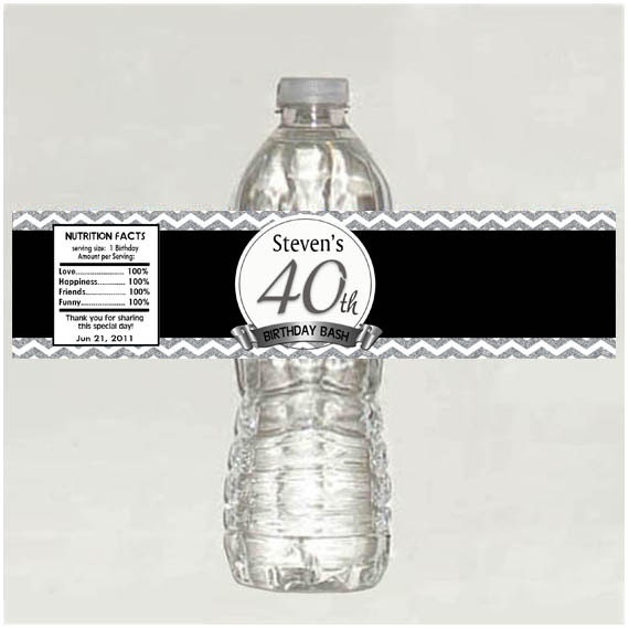 Personalized 40th Birthday Water Bottle Labels Printable