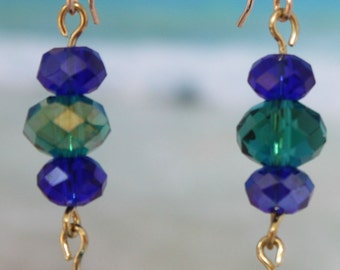 Emerald and Royal Blue Crystal Earrings