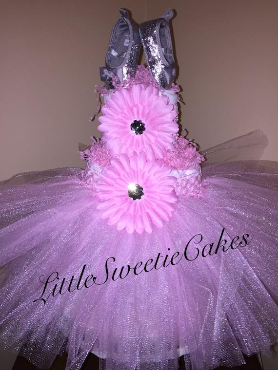 Pink and Silver ballerina tutu diaper cake pink tutu diaper