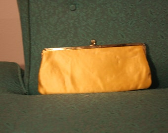 Vintage Yellow Satin Clutch, Evening Bag