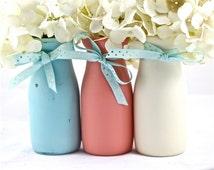 Coral Baby Shower Centerpieces Decorations Blue Milk Bottle Vase Decor for Parties Painted Mason Jars