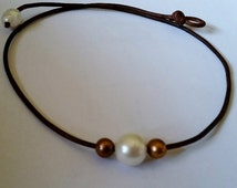 Freshwater White and Chocolate Brown Pearls on AAA leather cord