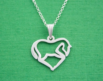 Silver Horse Love Pendant Heart Necklace / Horse Jewelry / Delicate Necklace / Wedding / Horse Charm Necklace / Horse Lover Gift