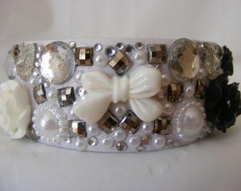 Hand Decorated Wooden Bangle, Black and White Pearls, Roses, Hearts, Bow, Crystals, Gems, Rhinestones, Kawaii, Cabochons
