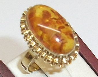 333 gold ring with amber 17.3 mm GR107