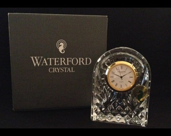 """New In Box-Excellent-Small-3 1/2""""-Desktop-Mantle-Waterford-Crystal-Ireland-Gold Rimmed-Dome-Clock"""