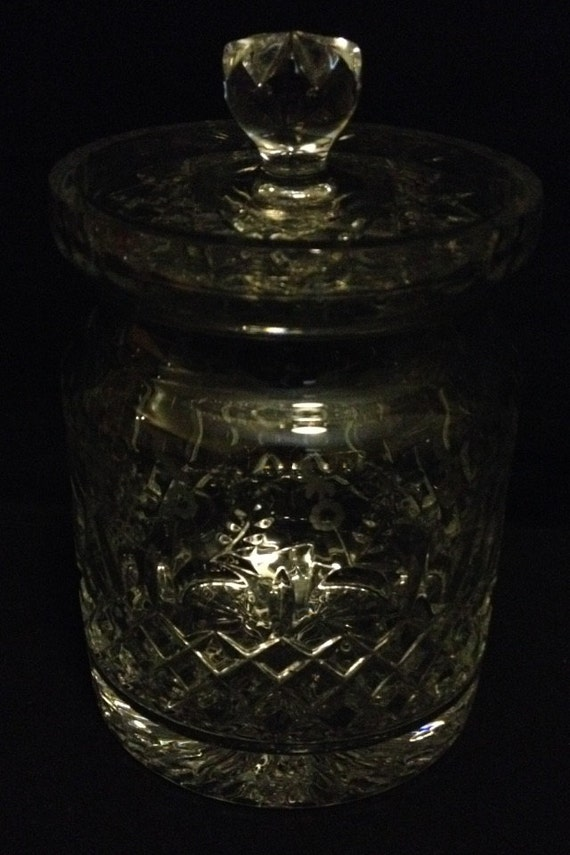 "FREE SHIPPING-Fabulous-Rogaska-Gallia-Crystal-Flower Etched-8 1/2"" Tall-Made In Yugoslavia-Biscuit Barrel/Jar-With Lid"