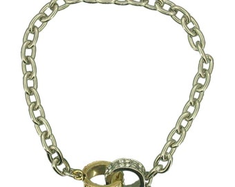 Crystal Ring Link Bracelet (Gold and Silver Plated Crystal Fashion Jewelry RSB1155)