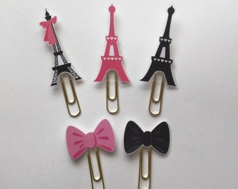 Meet Me In Paris Collection Eiffel Bow Double Sided Planner Clip - Made to Order