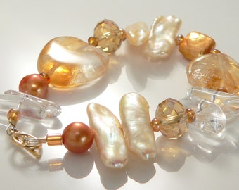 Citrine Stones, Freshwater Pearls and Crystals.