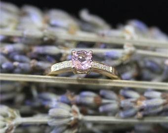 5mm Round Natural VS Pink Morganite Ring Solid 14K Yellow Gold Ring Morganite Wedding Ring Diamond Wedding Ring Promise Ring Engagement Ring