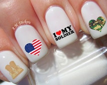 53 I Love My Soldier Nail Decals