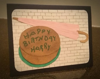 Harry Potter Birthday Card - Hagrid's cake and umbrella