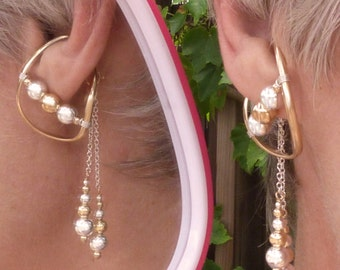 gold filled unpierced earrings non pierced ear cuff illuzio earrings etsy 3659