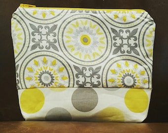 Handmade Yellow and Gray Patterned Zipper Pouch